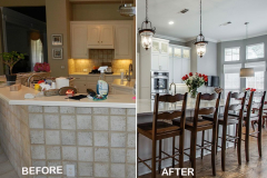 gray and white kitchen before and after