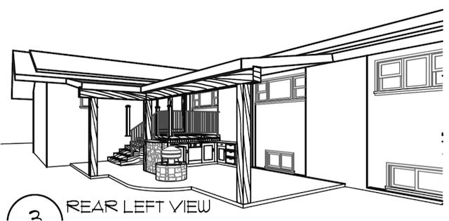 Architectural Schematic Drawing of Outdoor Liviing Concept