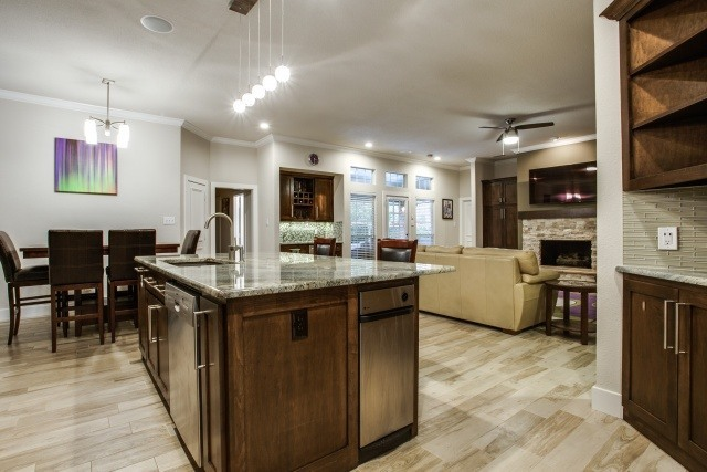 New KItchen Island Also Serves as Space Divider to Family Room