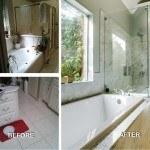before after master bathroom remodel