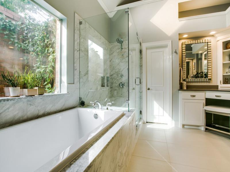 glass shower multi head shower soaking bathtub marble