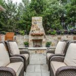 exterior, outdoor retreat, covered patio, custom, outdoor living, outdoor dining, stamped concrete, fireplace, outdoor seating