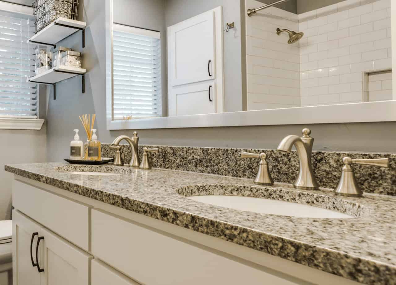 best bath remodeler - project with faucets and a double-vanty sink