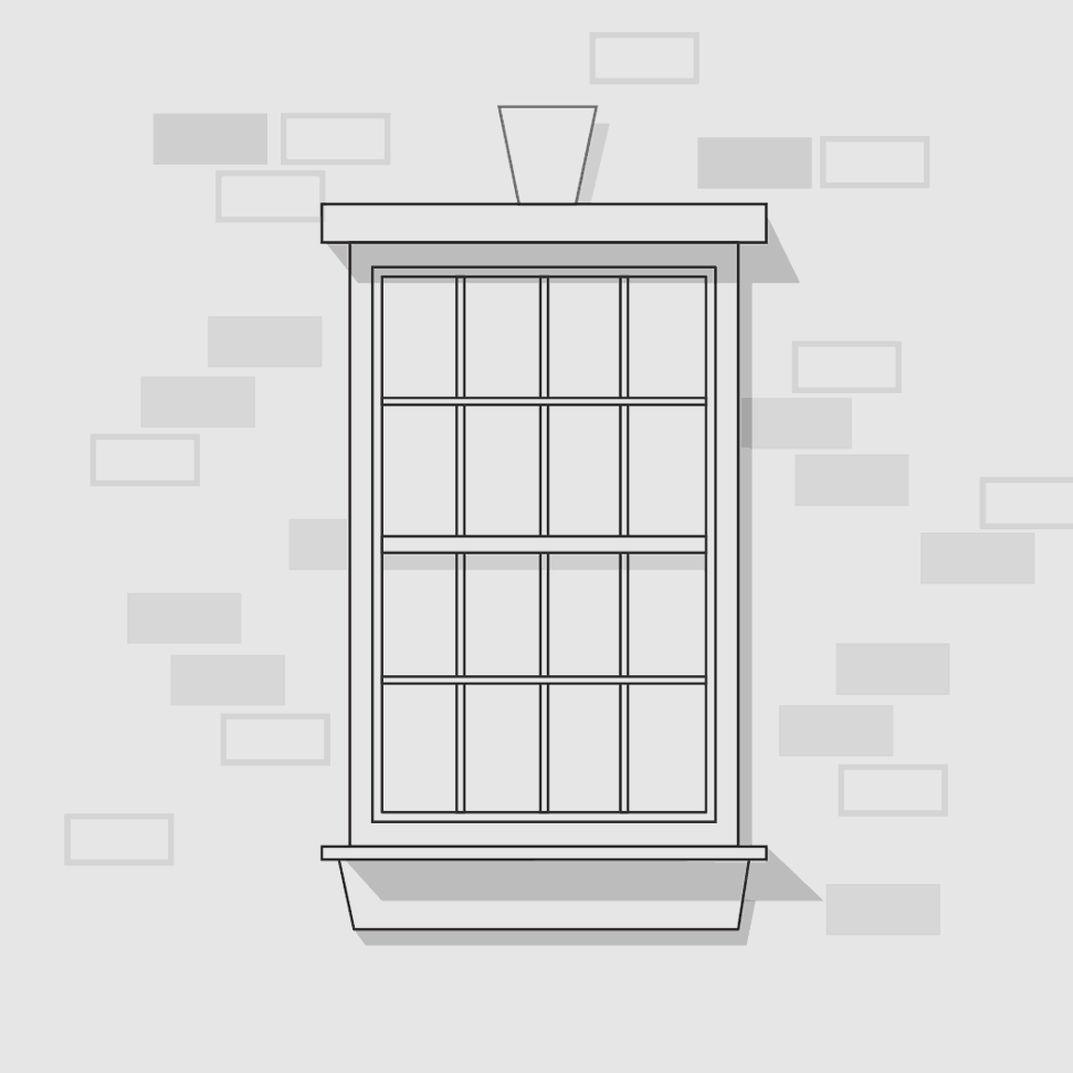 Window on brick wall illustration