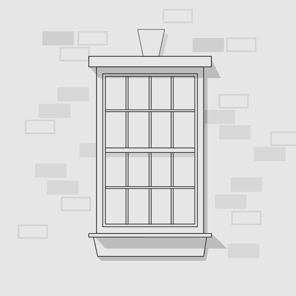 Window on brick wall illustration