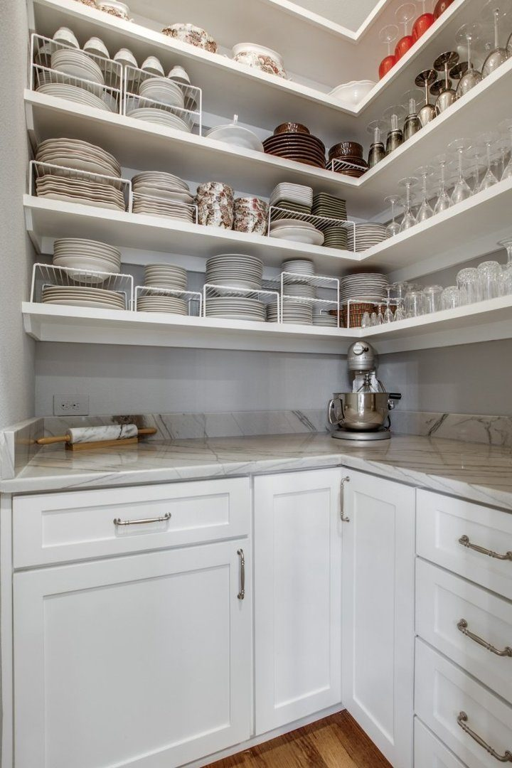 timeless gray and white kitchen pantry