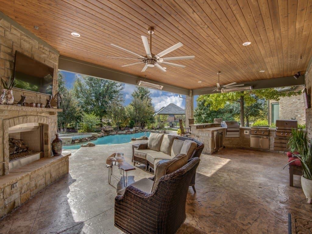 Beautiful outdoor living area in Prosper, Texas