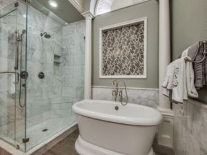 spa Bathroom - luxury bathroom with wall art, shower and tub