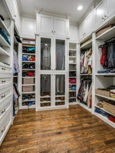 small spaces - custom closet with storage