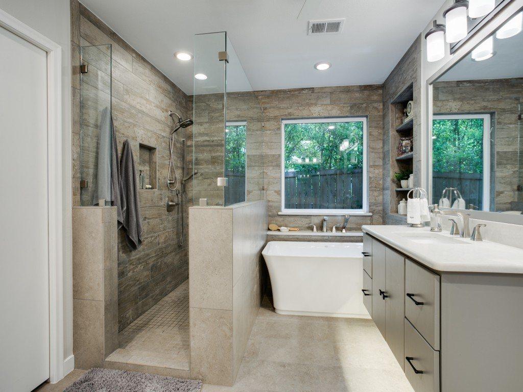 BathroomRemodel greyandwhitebathroomwithmoderntubandshower