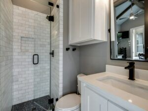 small spaces - white and grey powder bathroom