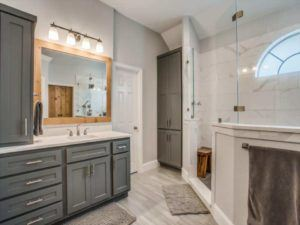 Bathroom Remodel - remodeled grey and white bathroom