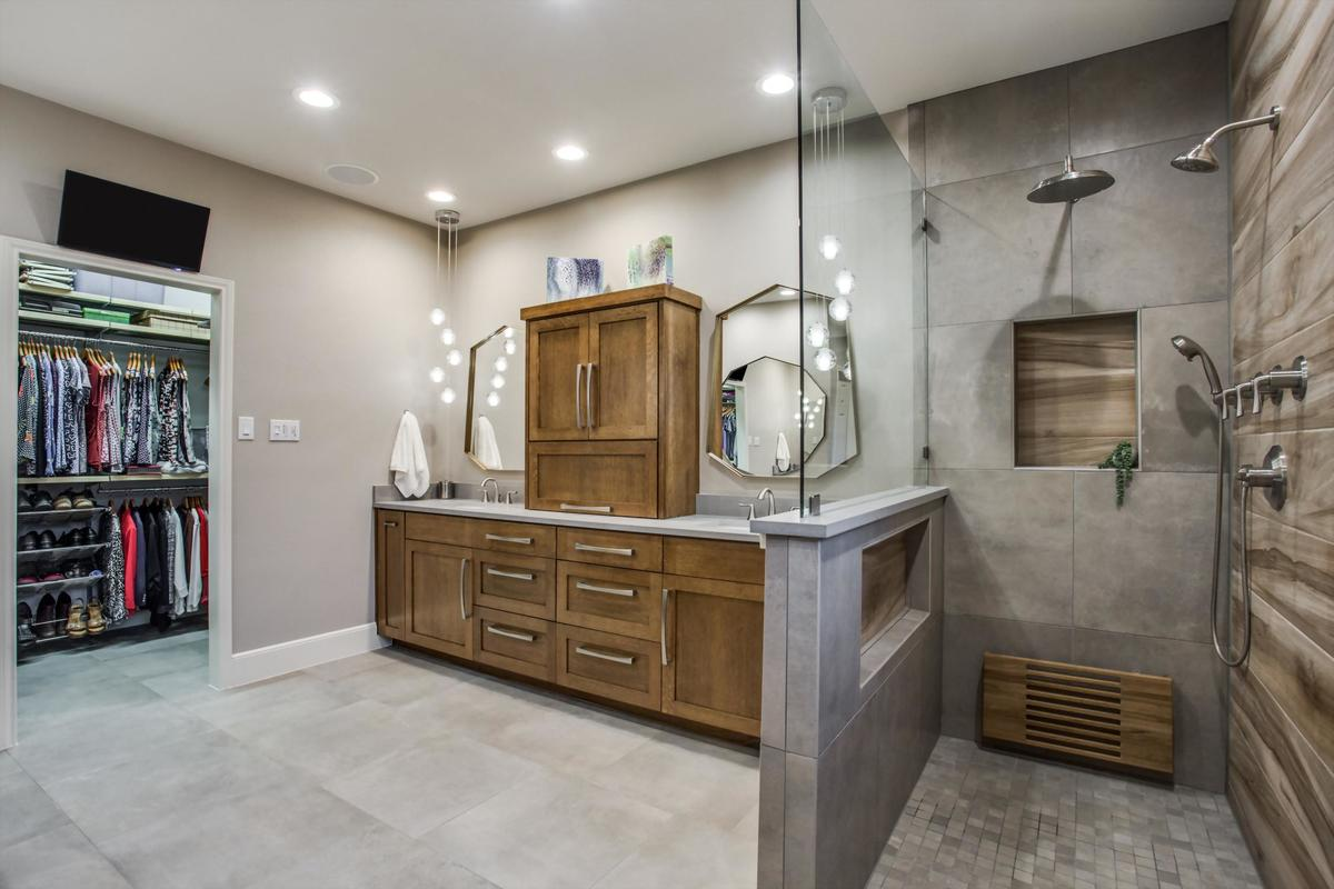 bathroom remodel - updated bathroom with natural materials