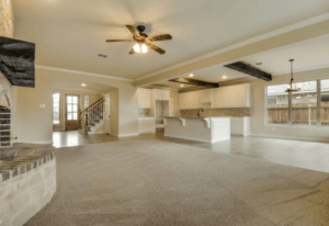aging in place features - open floorplan with carpet and tile flooring