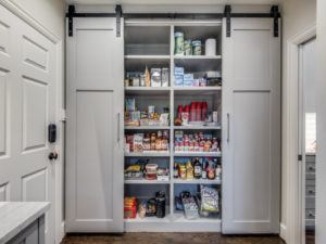 kitchen pantry - pantry with sliding barn doors