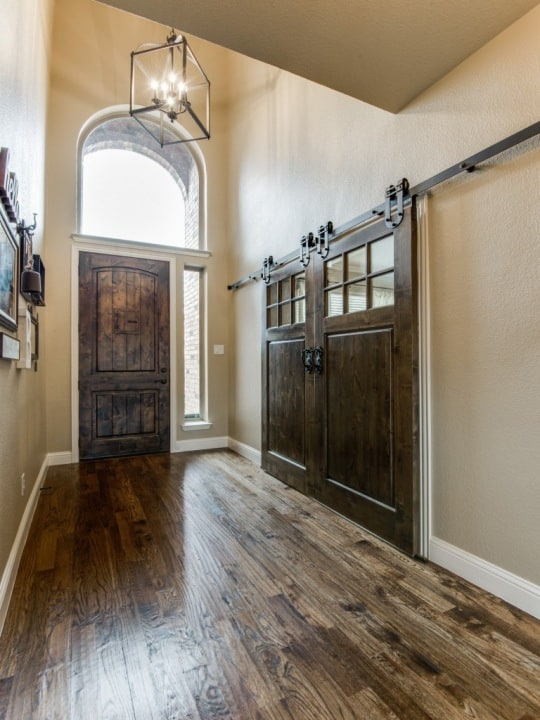 Front Entry with Barn Door Hardware